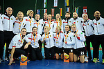 Leipzig, Germany, February 08: Team of Germany presents the silver medal of the FIH Indoor Hockey Women World Cup after being defeated by the Netherlands in the final after shoot-out  on February 8, 2015 at the Arena Leipzig in Leipzig, Germany. (Photo by Dirk Markgraf / www.265-images.com) *** Local caption ***
