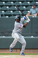 Shawon Dunston Jr. (3) of the Myrtle Beach Pelicans at bat against the Winston-Salem Dash at BB&T Ballpark on April 18, 2015 in Winston-Salem, North Carolina.  The Pelicans defeated the Dash 4-1 in game one of a double-header.  (Brian Westerholt/Four Seam Images)