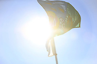 The Golfing Union of Ireland flag flies in the sunshine during the Home Internationals day 2 foursomes matches supported by Fairstone Financial Management Ltd. at Royal Portrush Golf Club, Portrush, Co.Antrim, Ireland.  13/08/2015.<br /> Picture: Golffile   Fran Caffrey<br /> <br /> <br /> All photo usage must carry mandatory copyright credit (© Golffile   Fran Caffrey)