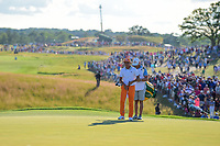 Rickie Fowler (USA) looks over his putt on 18 during Sunday's round 4 of the 117th U.S. Open, at Erin Hills, Erin, Wisconsin. 6/18/2017.<br /> Picture: Golffile | Ken Murray<br /> <br /> <br /> All photo usage must carry mandatory copyright credit (&copy; Golffile | Ken Murray)