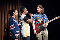 Reilly Brown '17 used a loop pedal to perform an original layered composition. <br /> Ashley Rivera '19 and Austin Wilson '19, the charismatic and welcoming hosts of Apollo Night.<br /> Occidental College students perform and compete during Apollo Night, one of Oxy's biggest talent showcases, on Feb. 24, 2017 in Thorne Hall. Sponsored by ASOC and hosted by the Black Student Alliance as part of Black History Month.<br /> (Photo by Marc Campos, Occidental College Photographer)