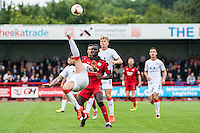 Alan Sheehan of Luton Town (44) does and over head kick clearance  during the Sky Bet League 2 match between Crawley Town and Luton Town at the Broadfield/Checkatrade.com Stadium, Crawley, England on 17 September 2016. Photo by Edward Thomas / PRiME Media Images.