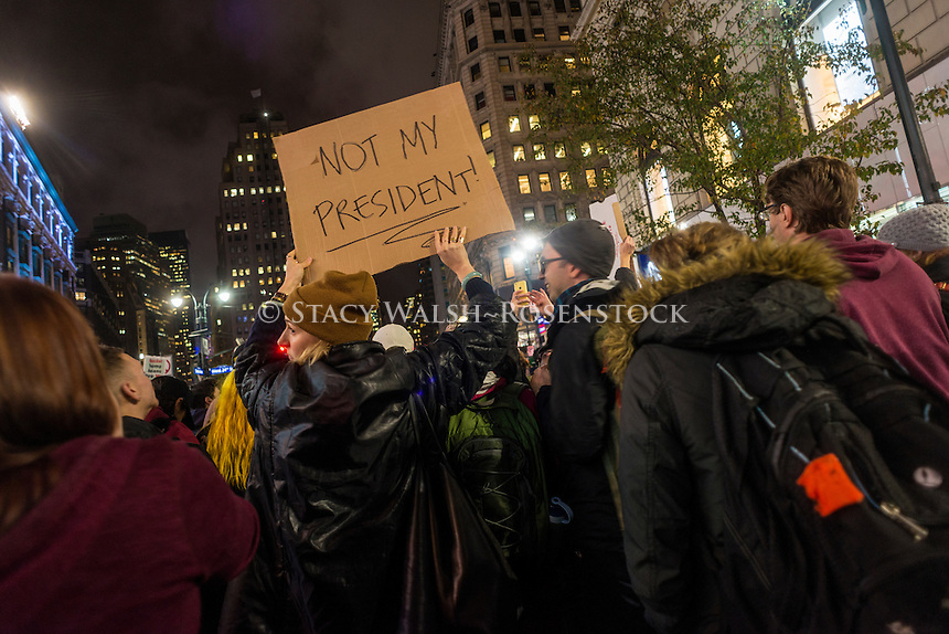 New York, USA - 9 November 2016 - One day after the United States Presidential Election thousands of New Yorkers took to the streets to protest against Republican President Elect Donald Trump. trump's democratic opponant took 80 percent of the vote in New York City and won the popular vote nationwide. ©Stacy Walsh Rosenstock
