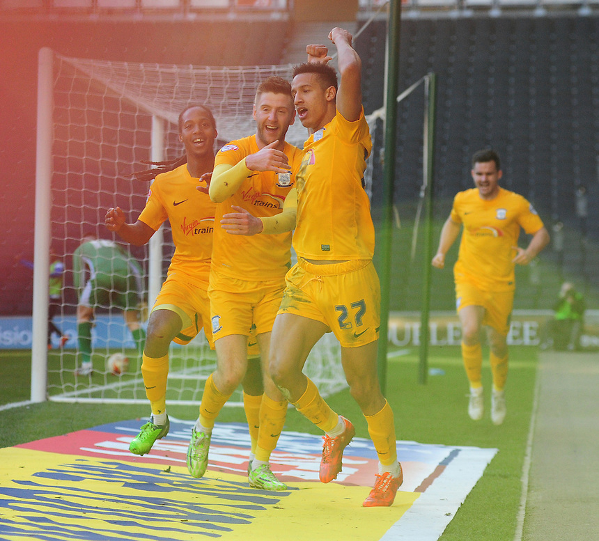 Preston North End's Callum Robinson, right, celebrates scoring the opening goal with team-mate Paul Gallagher<br /> <br /> Photographer Chris Vaughan/CameraSport<br /> <br /> Football - The Football League Sky Bet League One - Saturday 7th March 2015 - Milton Keynes Dons v Preston North End - Stadium:mk - Milton Keynes<br /> <br /> &copy; CameraSport - 43 Linden Ave. Countesthorpe. Leicester. England. LE8 5PG - Tel: +44 (0) 116 277 4147 - admin@camerasport.com - www.camerasport.com