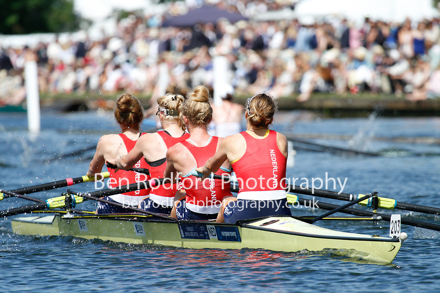 Race: 16 - Event: W4- - Berks: 207 NEW YORK ATHLETIC CLUB, USA - Bucks: 203 HOLLANDIA ROEICLUB, NED<br /> <br /> Henley Royal Regatta 2017<br /> <br /> To purchase this photo, or to see pricing information for Prints and Downloads, click the blue 'Add to Cart' button at the top-right of the page.