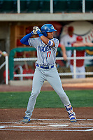 Romer Cuadrado (17) of the Ogden Raptors bats against the Orem Owlz at Home of the Owlz on September 11, 2017 in Orem, Utah. Ogden defeated Orem 7-3 to win the South Division Championship. (Stephen Smith/Four Seam Images)