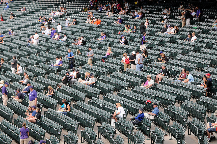 18 JUNE 2011:   Fans fill into the stands before a regular season interleage game between the Detroit Tigers and the Colorado Rockies at Coors Field in Denver, Colorado. The Rockies beat the Tigers 5-4.   *****For Editorial Use Only*****
