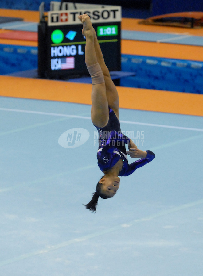 Jul 14, 2007; Rio de Janeiro, Brazil; Ivana Hong (USA) performs on the floor exercise routine during the womens team qualification final in the Pan American Games at the Multipurpose Arena in Rio de Janeiro. Mandatory Credit: Mark J. Rebilas-US PRESSWIRE Copyright © 2007 Mark J. Rebilas