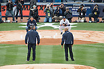 Derek Jeter (Yankees),<br /> APRIL 7, 2014 - MLB :<br /> Former New York Yankees Mariano Rivera (bottom, R) and Andy Pettitte (bottom, L) throw the ceremonial first pitch to Derek Jeter of the New York Yankees (top, R) and former Yankee Jorge Posada (top, L) before the Yankees home opener against the Baltimore Orioles at Yankee Stadium in Bronx, New York, United States. (Photo by Thomas Anderson/AFLO) (JAPANESE NEWSPAPER OUT)