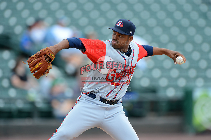 Gwinnett Braves pitcher Juan Cedeno #28 during a game against the Rochester Red Wings on June 16, 2013 at Frontier Field in Rochester, New York.  Rochester defeated Gwinnett 6-3.  (Mike Janes/Four Seam Images)