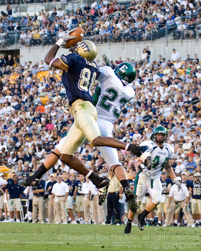 University of Pittsburgh Wide Receiver Oderick Turner makes a spectacular 21-yard touchdown reception against Eastern Michigan on September 01, 2007 at Heinz Field, Pittsburgh, Pennsylvania. Pitt defeated EMU-27-3.