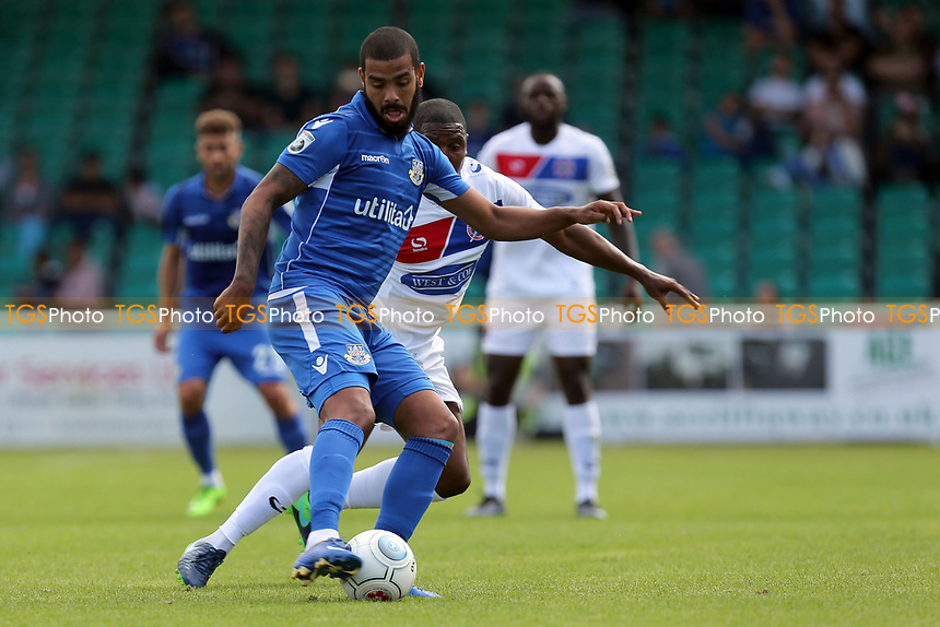 Paul McCallum of Eastleigh and Morgan Ferrier of Dagenham during Eastleigh vs Dagenham & Redbridge, Vanarama National League Football at the Silverlake Stadium on 12th August 2017