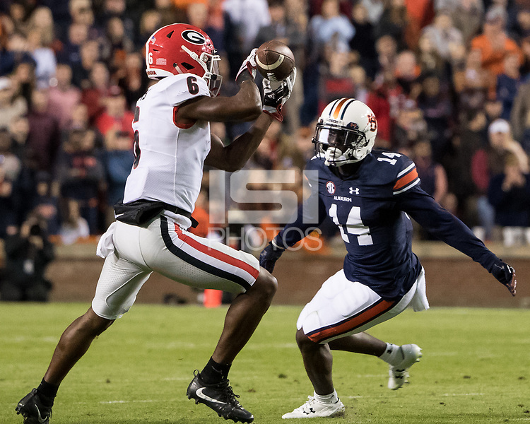 Auburn, AL - November 11, 2017: The number 10 ranked Auburn Tigers host the number 1 ranked Georgia Bulldogs at Jordan-Hare Stadium.  Final score Auburn 40, Georgia 17.