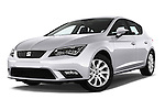 Stock pictures of low aggressive front three quarter view of 2015 Seat Leon Style 5 Door Hatchback Low Aggressive