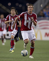 Chivas USA forward Justin Braun (17) brings the ball forward. In a Major League Soccer (MLS) match, Chivas USA defeated the New England Revolution, 3-2, at Gillette Stadium on August 6, 2011.