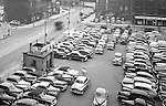 Pittsburgh PA:  View of the point area prior to the Gateway Center construction - 1949.  Eppy's parking lot at Liberty Avenue and Fancourt Street in Pittsburgh.  Pittsburgh Case Sales Company in Pittsburgh