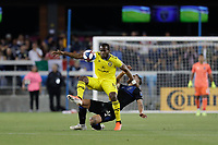 SAN JOSE, CA - AUGUST 03: Romario Williams, Guram Kashia  during a Major League Soccer (MLS) match between the San Jose Earthquakes and the Columbus Crew on August 03, 2019 at Avaya Stadium in San Jose, California.