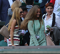 OIC - ENTSIMAGES.COM -  Kim Sears and  Jelena Ristic watch Andy Murray of Great Britain celebrates his win in the Gentlemen's Singles Final match against Novak Djokovic of Serbia of the Wimbledon Lawn Tennis Championships at the All England Lawn Tennis and Croquet Club 7th July 2013     Photo Ents Images/OIC 0203 174 1069