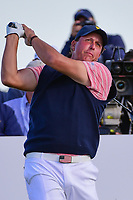 Phil Mickelson (USA) watches his tee shot on 17 during round 2 Four-Ball of the 2017 President's Cup, Liberty National Golf Club, Jersey City, New Jersey, USA. 9/29/2017.<br /> Picture: Golffile | Ken Murray<br /> <br /> All photo usage must carry mandatory copyright credit (&copy; Golffile | Ken Murray)