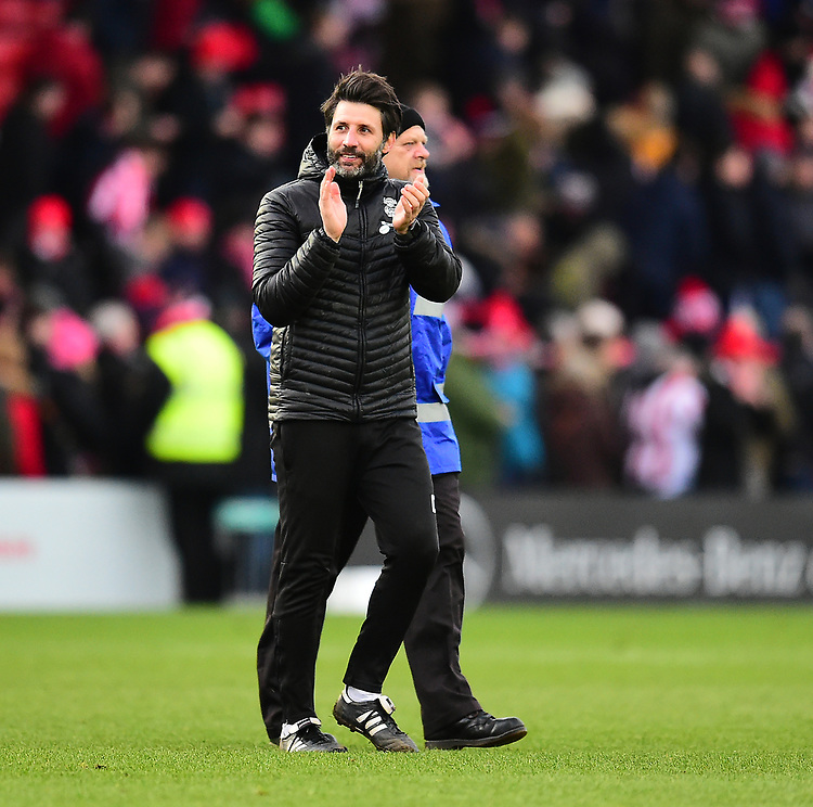 Lincoln City manager Danny Cowley applauds the fans at the final whistle<br /> <br /> Photographer Andrew Vaughan/CameraSport<br /> <br /> The EFL Sky Bet League Two - Lincoln City v Grimsby Town - Saturday 19 January 2019 - Sincil Bank - Lincoln<br /> <br /> World Copyright © 2019 CameraSport. All rights reserved. 43 Linden Ave. Countesthorpe. Leicester. England. LE8 5PG - Tel: +44 (0) 116 277 4147 - admin@camerasport.com - www.camerasport.com