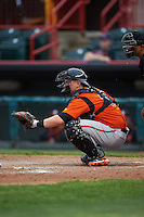Bowie Baysox catcher Chance Sisco (12) waits for a pitch during a game against the Erie SeaWolves on May 12, 2016 at Jerry Uht Park in Erie, Pennsylvania.  Bowie defeated Erie 6-5.  (Mike Janes/Four Seam Images)