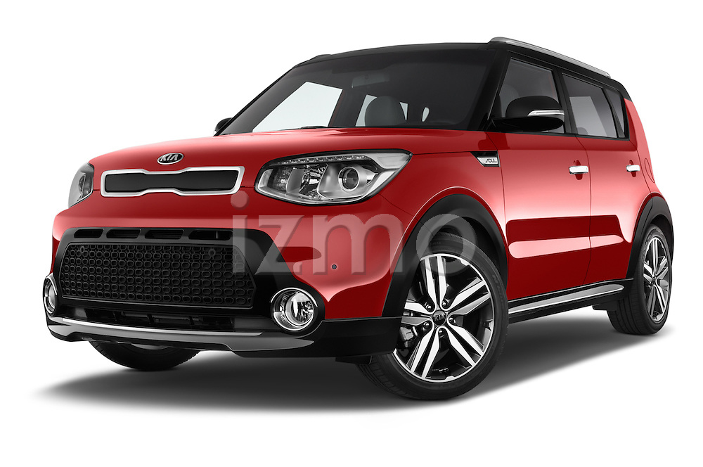 Stock pictures of low aggressive front three quarter view of 2015 KIA Soul Max 5 Door Hatchback