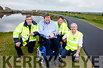 Pictured at the newly surfaced walkway and the fully operational Lock Gates at Cockleshell Road on Wednesday morning were: Murty Quirke (Town Foreman with Kerry County Council), Terry O'Brien Mayor of Tralee, Sean O'Keeffe (KCC Technician) and Frank Hartnett (KCC Senior Engineer).