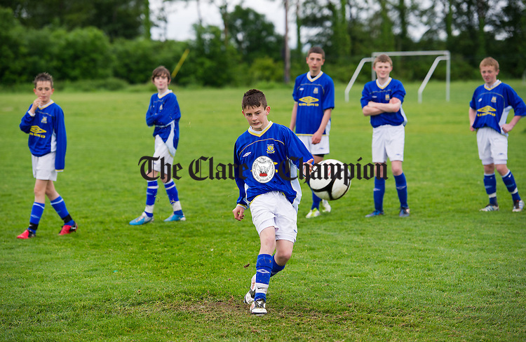 Aidan Kennedy takes a shot during the Clare Kennedy Cup squad's world record attempt at hitting the crossbar as many times as possible in one hour. Photograph by John Kelly.