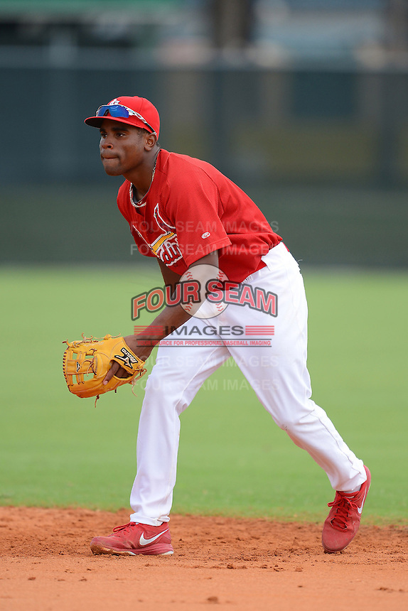 GCL Cardinals second baseman Malik Collymore (41)  during the first game of a double header against the GCL Mets on July 17, 2013 at Roger Dean Complex in Jupiter, Florida.  GCL Cardinals defeated the GCL Mets 6-5 in twelve innings.  (Mike Janes/Four Seam Images)