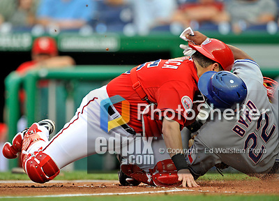 21 June 2008: Washington Nationals' catcher Paul Lo Duca is unable to stop Marlon Byrd from scoring in the first inning during a game against the Texas Rangers at Nationals Park in Washington, DC. The Rangers defeated the Nationals 13-3 in the second game of their 3-game inter-league series...Mandatory Photo Credit: Ed Wolfstein Photo
