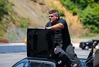 Jun 16, 2018; Bristol, TN, USA; NHRA funny car driver Terry Haddock during qualifying for the Thunder Valley Nationals at Bristol Dragway. Mandatory Credit: Mark J. Rebilas-USA TODAY Sports