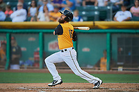 Dustin Ackley (16) of the Salt Lake Bees bats against the New Orleans Baby Cakes at Smith's Ballpark on June 11, 2018 in Salt Lake City, Utah. New Orleans defeated Salt Lake 6-5.  (Stephen Smith/Four Seam Images)