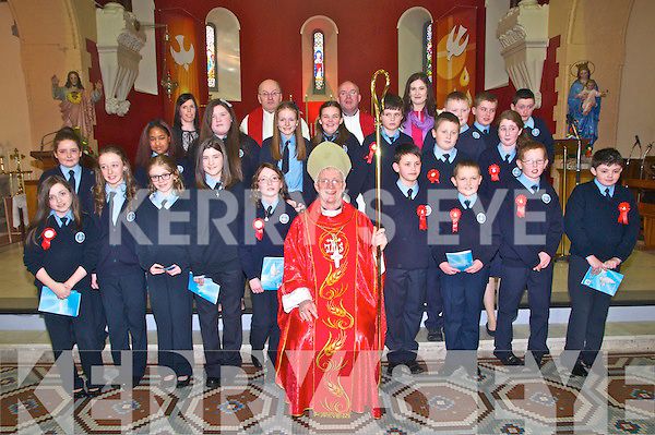 Ballylongford NS Confirmation :Pupils from Ballylongford NS who were Confirmed in Ballylongford Church on Friday last by Bishop Ray Browne.Front: Caoimhe, Evelyn, Lucy, Sophie, Ciara, Bishop Browne, Josh, Brian Emma & Jack. Middle : Molly. Leah, Molly, Maire, Ciara, Rory, Gravyn & Aaron. Patrick, Gavin & Graine.  Back : Mrs Liz O'Sullivan, Fr. Tarrant, Fr. Kennelly, M/s Danielle O'Riordan