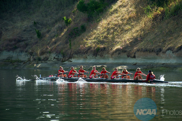 30 May 2010: Barry University warms up before the Eights Grand Final during the Division II Rowing Championship held at the Sacramento State Aquatic Center in Gold River, CA. Barry finished in third place with a time of 6:51.76 Ed Broberg/ NCAA Photos