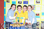 COMMUNITY: Members of Glenflesk Community Games with their project which featured Seamus Moynihan, at the Kerry Community Games Project Final at the KDYS, Denny Street, Tralee, on Friday. L-r: Donna O'Donovan, Daniel O'Brien, Conor O'Donoghue and Jennifer Murphy....