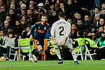 Real Madrid's Dani Carvajal and Valencia CF's Jose Gaya during La Liga match between Real Madrid and Valencia CF at Santiago Bernabeu Stadium in Madrid, Spain. December 01, 2018. (ALTERPHOTOS/A. Perez Meca)