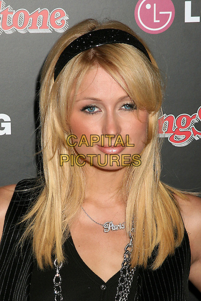 PARIS HILTON.Rolling Stone Magazine Celebrates the 20th Annual HOT LIST at the Sofitel Hotel's Stone Rose Lounge, Los Angeles, California, USA..October 3rd, 2006.Ref: ADM/BP.headshot portrait black alice band necklace name.www.capitalpictures.com.sales@capitalpictures.com.©Byron Purvis/AdMedia/Capital Pictures.