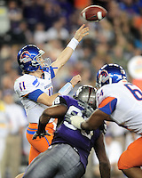 Jan. 4, 2010; Glendale, AZ, USA; Boise State Broncos quarterback (11) Kellen Moore throws a pass against the TCU Horned Frogs in the 2010 Fiesta Bowl at University of Phoenix Stadium. Boise State defeated TCU 17-10. Mandatory Credit: Mark J. Rebilas-