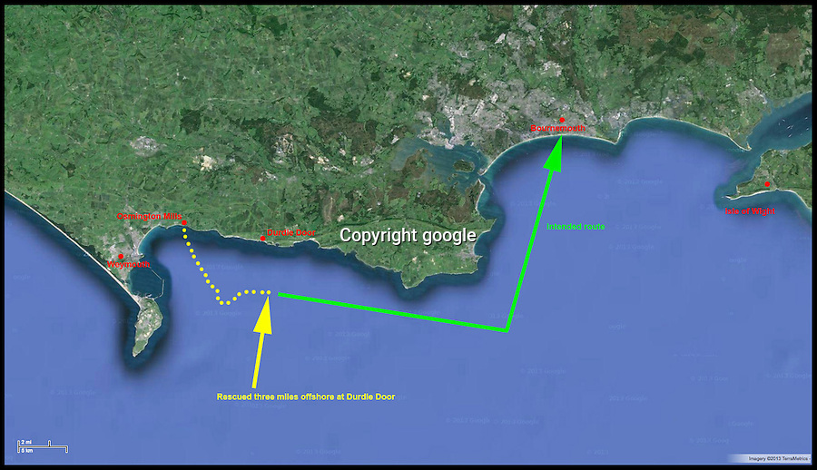 BNPS.co.uk (01202 558833)<br /> Pic: google<br /> <br /> A map of the sailor's route from Osmington Mills to Bournemouth<br /> <br /> A dive boat had to rescue a Captain Calamity sailor found bobbing around in a six foot rubber dinghy 3 miles off the Dorset coast yesterday.<br /> <br /> The madcap mariner had set off in his unsuitable craft from Osmington beach near Weymouth to attempt a 35 mile voyage to Bournemouth.<br /> <br /> After several hours struggling against the prevailing tide the dive boat 'X-dream' had to come to his rescue.