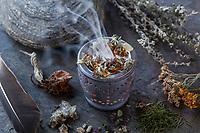 Räuchern mit Beifuß, Alantwurzel, Schafgarbe, Johanniskraut, Wilder Dost, Fichtennadeln und Fichtenharz, Räucherritual, verräuchern, Duftkräuter, Duft, Räucher-Stövchen, Räucherstövchen, Räuchergefäß, Smoking, Smoking with herbs, wild herbs, aromatic herbs, fumigate, cure, censer, incense burner, perfume burner. Fichtenharz, Fichten-Harz, Baumharz, Harz, liquid pitch, tree gum, galipot, gallipot. Gewöhnliche Fichte, Rot-Fichte, Rotfichte, Picea abies, Common Spruce, Norway spruce, L'Épicéa, Épicéa commun