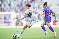 Orlando, FL - Sunday May 14, 2017: Yuri Kawamura, Kristen Edmonds during a regular season National Women's Soccer League (NWSL) match between the Orlando Pride and the North Carolina Courage at Orlando City Stadium.