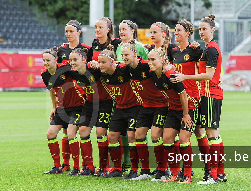 20170613 - LEUVEN ,  BELGIUM : Belgian team with Diede Lemey (1)   Heleen Jaques (3)   Tine De Caigny (6)   Elke Van Gorp (7)   Aline Zeler (10)   Janice Cayman (11)   Yana Daniels (15)   Imke Courtois (19)   Julie Biesmans (20)   Laura Deloose (22)   Elien Van Wynendaele (23)  pictured during the female soccer game between the Belgian Red Flames and Japan , a friendly game before the European Championship in The Netherlands 2017  , Tuesday 13 th Juin 2017 at Stadion Den Dreef  in Leuven , Belgium. PHOTO SPORTPIX.BE | DIRK VUYLSTEKE