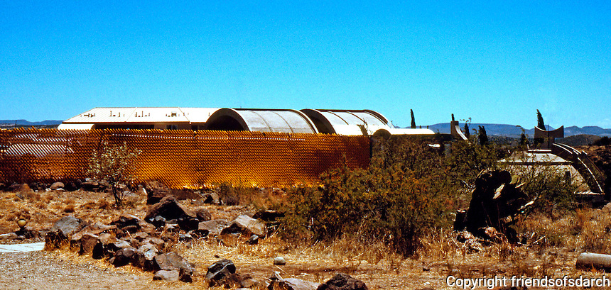 Paolo Soleri: ARCOSANTI from parking lot, 1996. Photo '96.