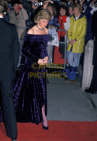 HRH, THE PRINCESS DIANA OF WALES.London, England..Lady Di family her royal highness full length navy blue off the shoulder dress.Ref: CAP/PL.©Phil Loftus/Capital Pictures