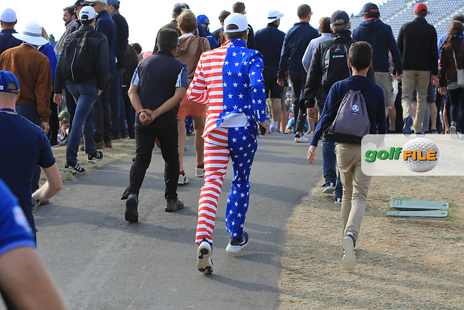 USA supporter during the Friday Foursomes at the Ryder Cup, Le Golf National, Ile-de-France, France. 28/09/2018.<br /> Picture Thos Caffrey / Golffile.ie<br /> <br /> All photo usage must carry mandatory copyright credit (© Golffile | Thos Caffrey)
