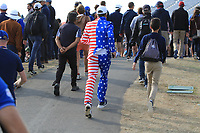 USA supporter during the Friday Foursomes at the Ryder Cup, Le Golf National, Ile-de-France, France. 28/09/2018.<br /> Picture Thos Caffrey / Golffile.ie<br /> <br /> All photo usage must carry mandatory copyright credit (&copy; Golffile | Thos Caffrey)
