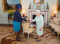09 March 2016 - London, England - Queen Elizabeth II meets the High Commissioner for Antigua and Barbuda, Karen Mae-Hill, during an audience at Buckingham Palace, London. Photo Credit: Alpha Press/AdMedia