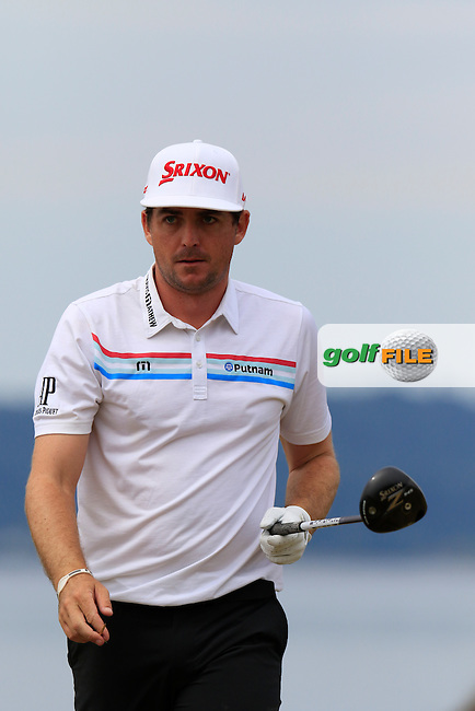 Keegan Bradley (USA) tees off the 18th tee during Thursday's Round 1 of the 2015 U.S. Open 115th National Championship held at Chambers Bay, Seattle, Washington, USA. 6/18/2015.<br /> Picture: Golffile | Eoin Clarke<br /> <br /> <br /> <br /> <br /> All photo usage must carry mandatory copyright credit (&copy; Golffile | Eoin Clarke)