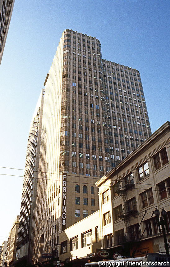 San Francisco:  450 Sutter St. Building. Timothy Pflueger, 1929-30. Undulating terra cotta & glass medical-dental office building.  Photo '83.