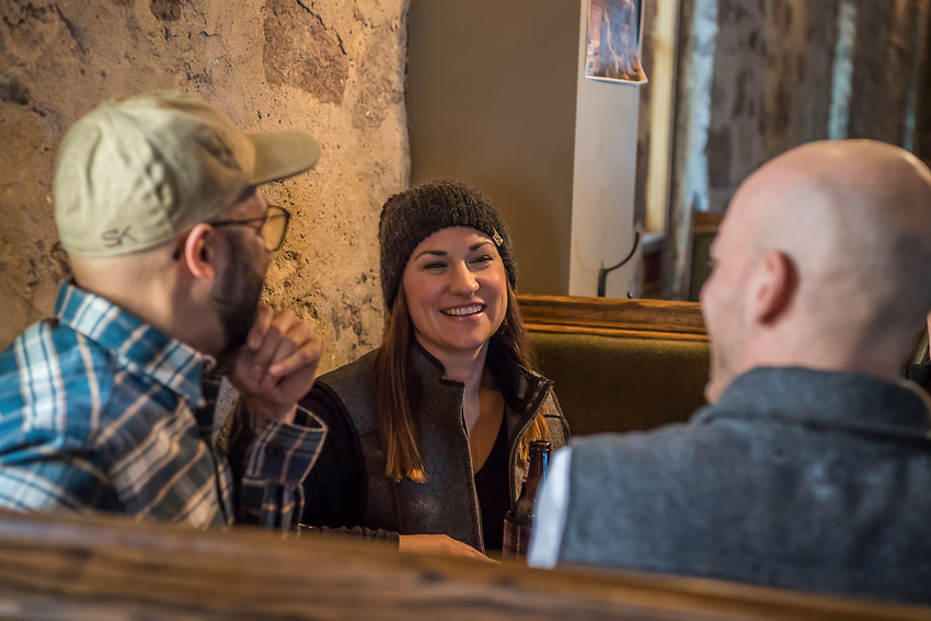 Beers at Ore Dock Brewing Company, Marquette, Michigan for Stormy Kromer.